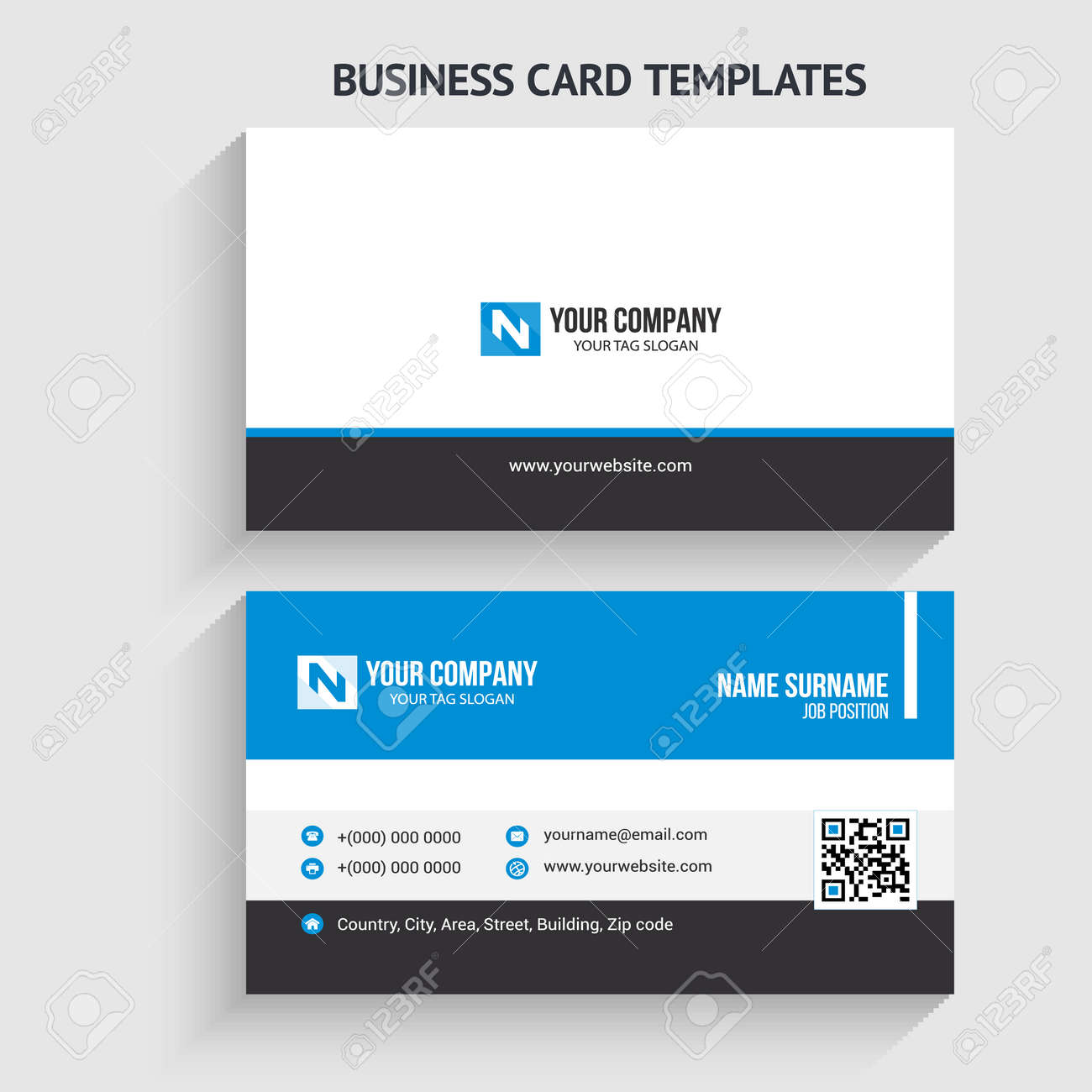 Creative and Modern Business Card Template. Stationery Design, Flat Design, Print Template, Vector illustration - 149444368