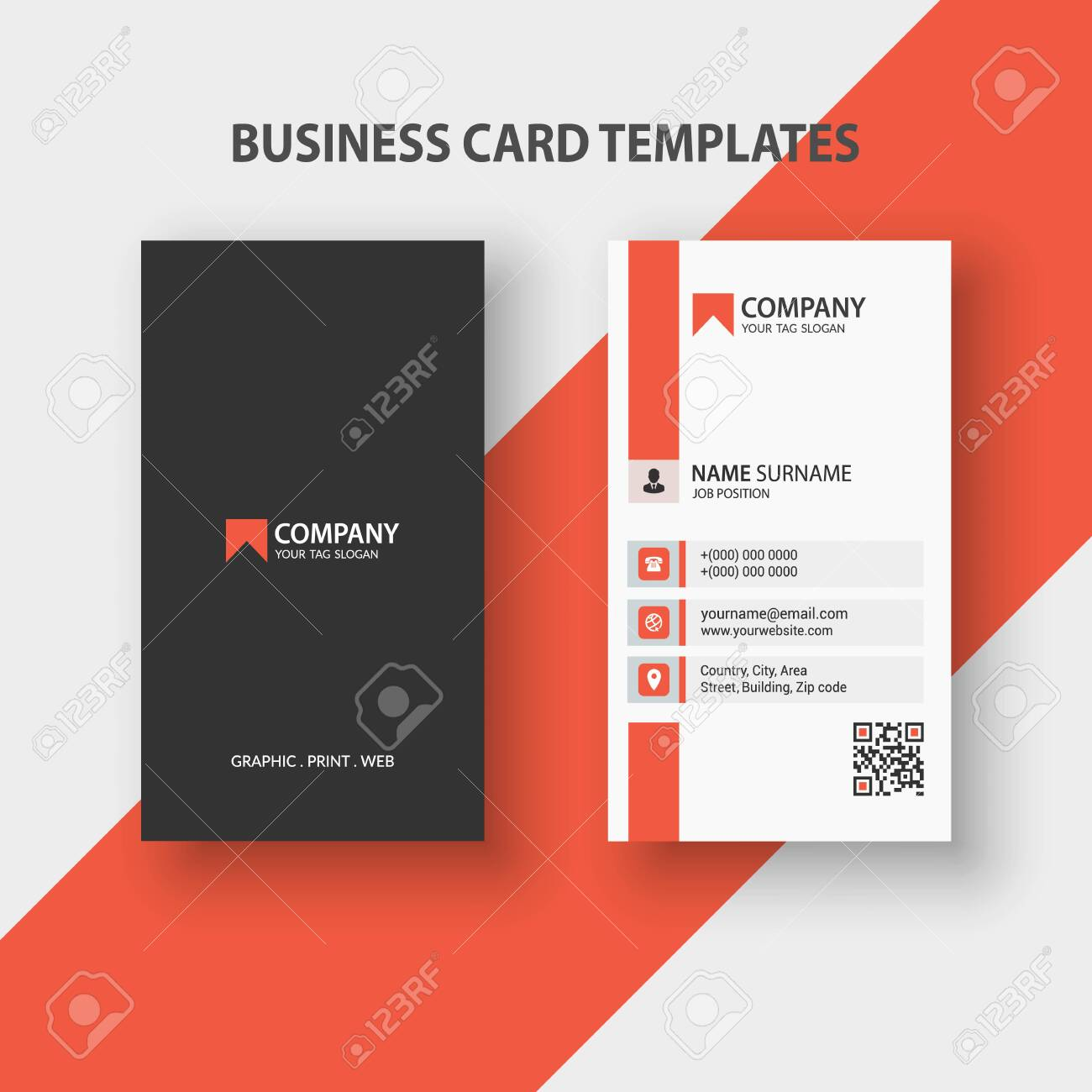Modern Vertical Double-sided Business Card Template. Stationery Design, Flat Design, Print Template, Vector illustration - 149465285