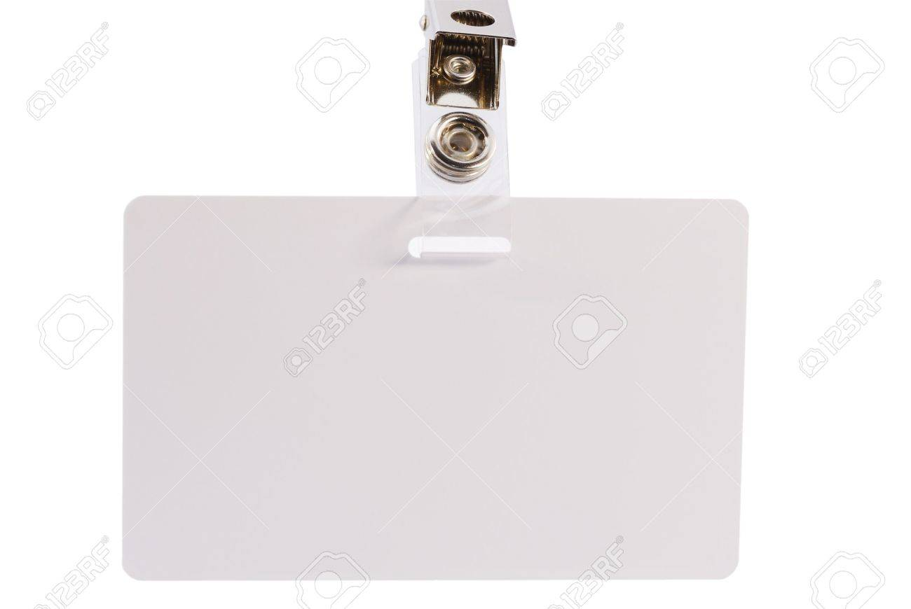 blank id card badge on a white background stock photo picture and