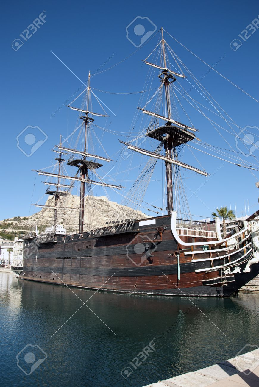 old galleon ship in the alicante harbour in spain stock photo