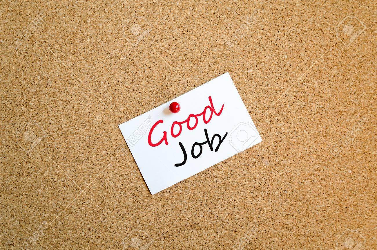 sticky note on cork board background good job concept stock photo sticky note on cork board background good job concept stock photo 39493347