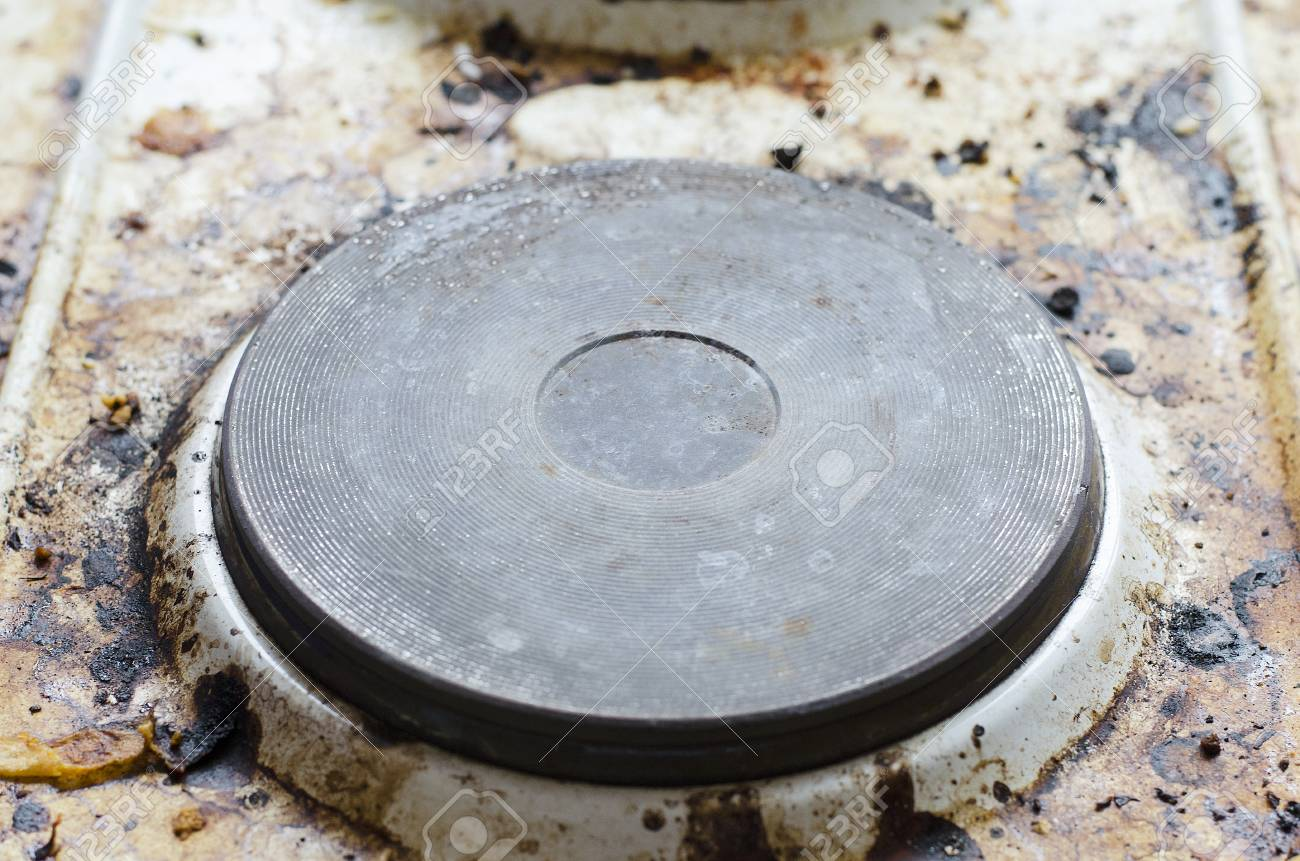 Very Dirty Hot Plate In The Kitchen Stock Photo, Picture And Royalty ...