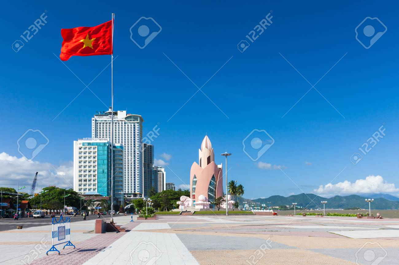 Daytime View Of Tram Huong Lotus Flower Tower And Nha Trang Skyline