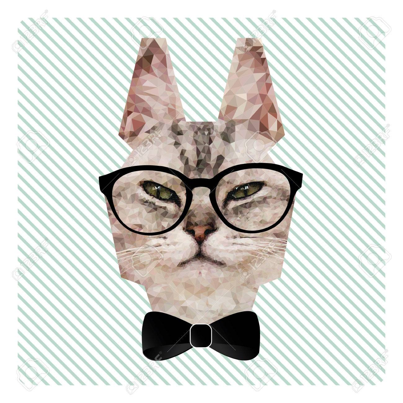 Polygonal Fashion Portrait Of Hipster Cat In Glasses And Bow Tie On Stripes Background Stock Vector