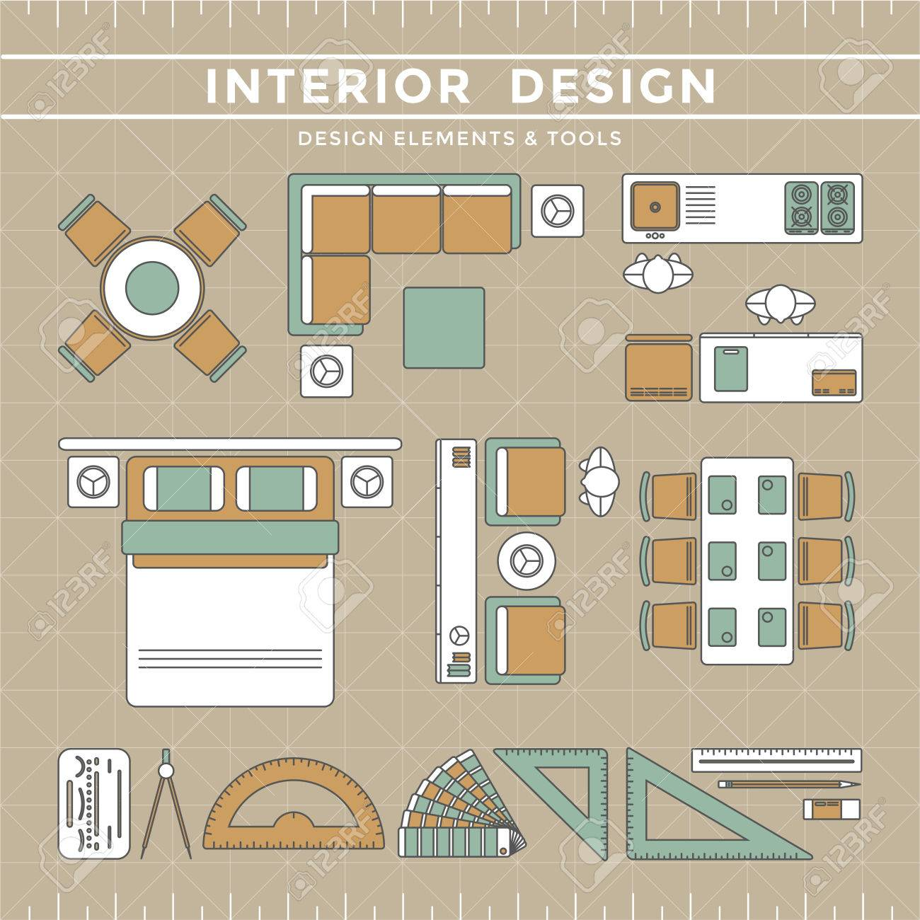 Interior Design Elements Equipment Tools Stock Vector   39526135