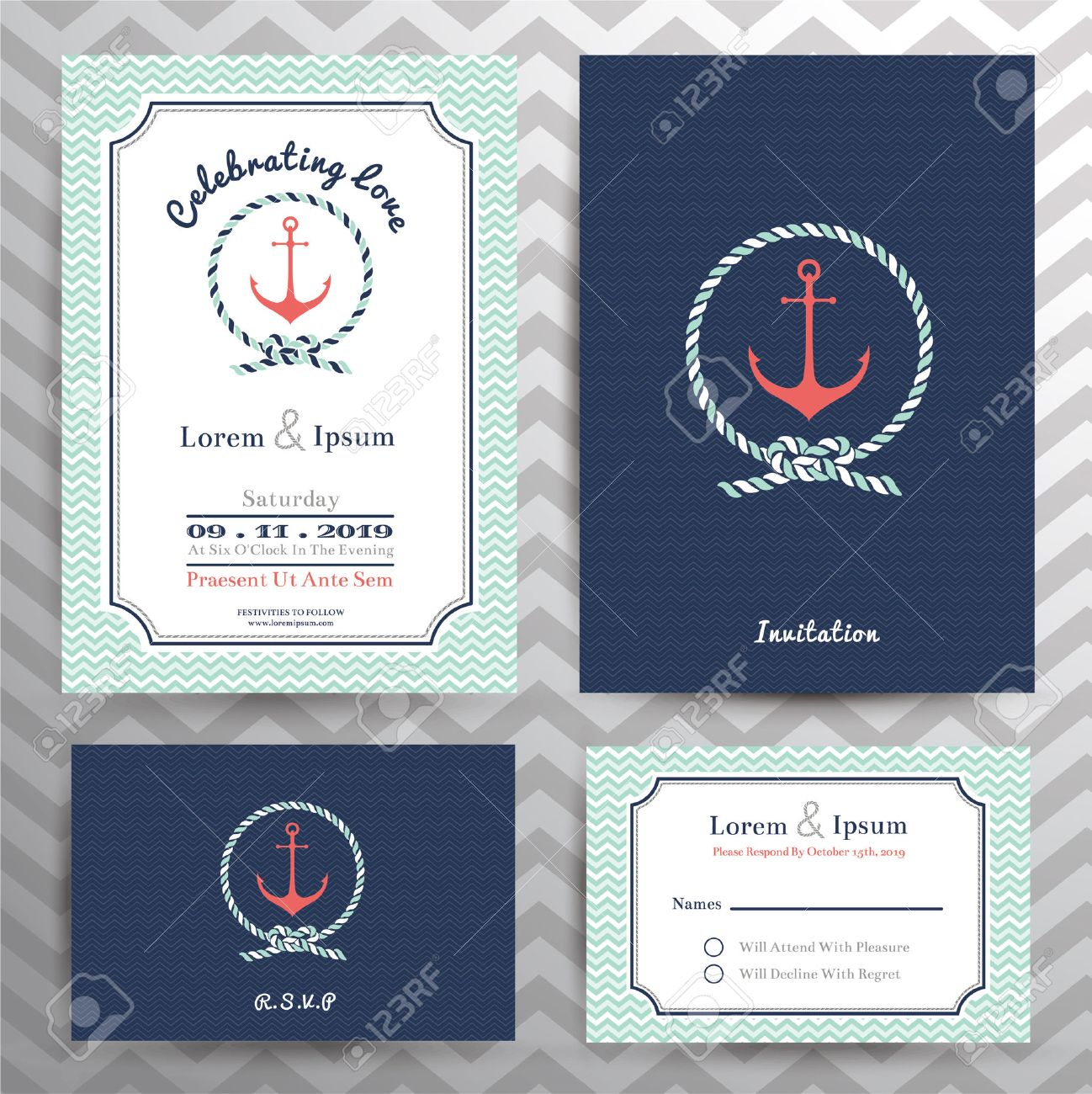 Nautical Wedding Invitation And RSVP Card Template Set In Anchor
