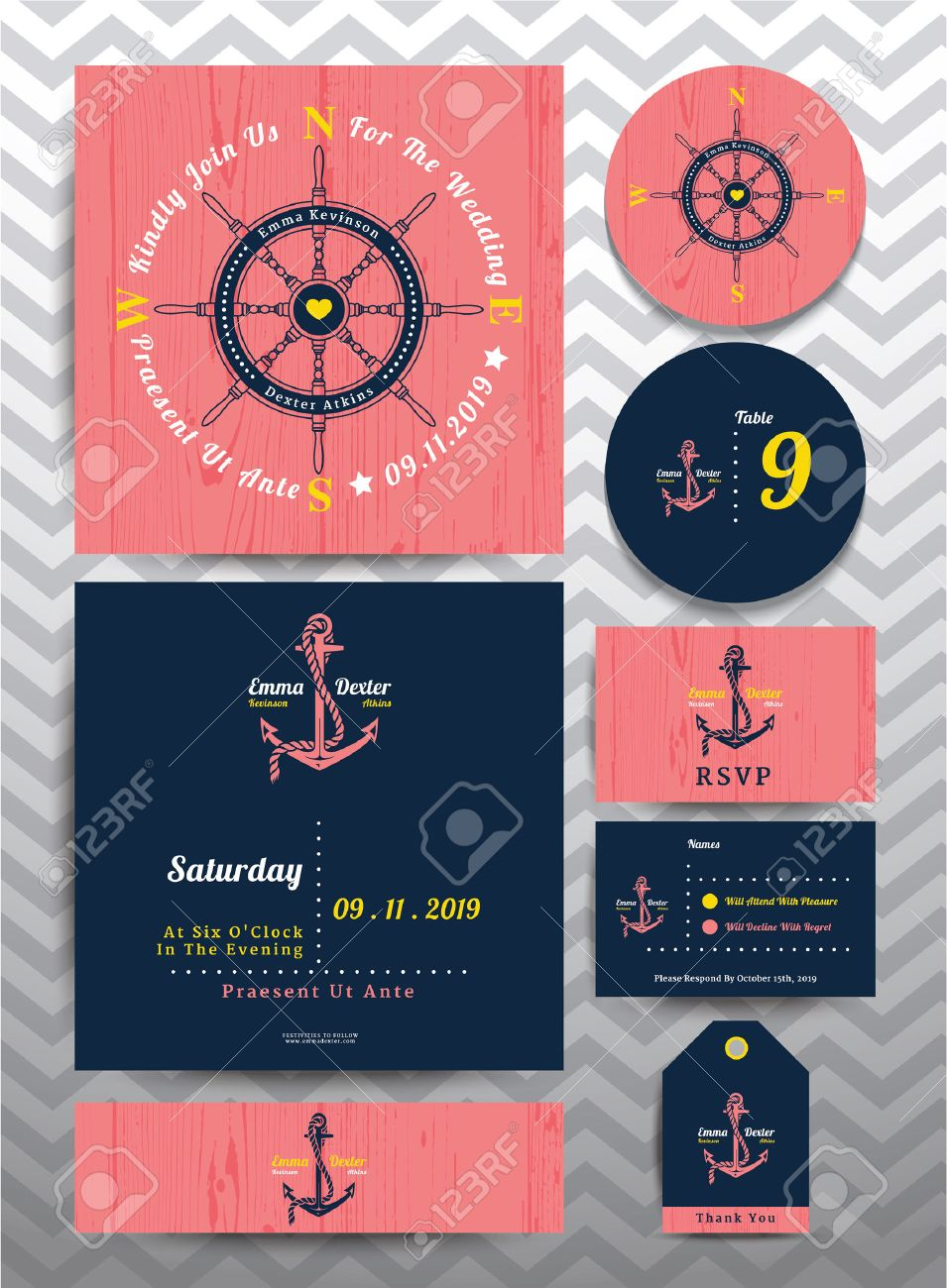 Nautical Wedding Invitation And RSVP Card In Anchor Rope Design