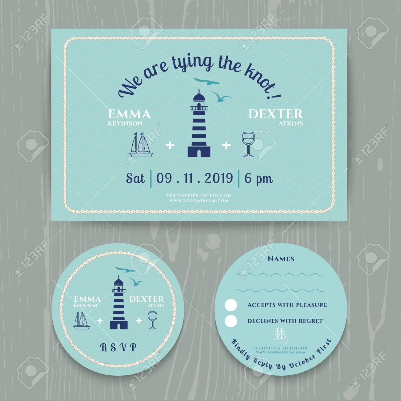 Nautical Light House Wedding Invitation And RSVP Card Template - Wedding rsvp cards template