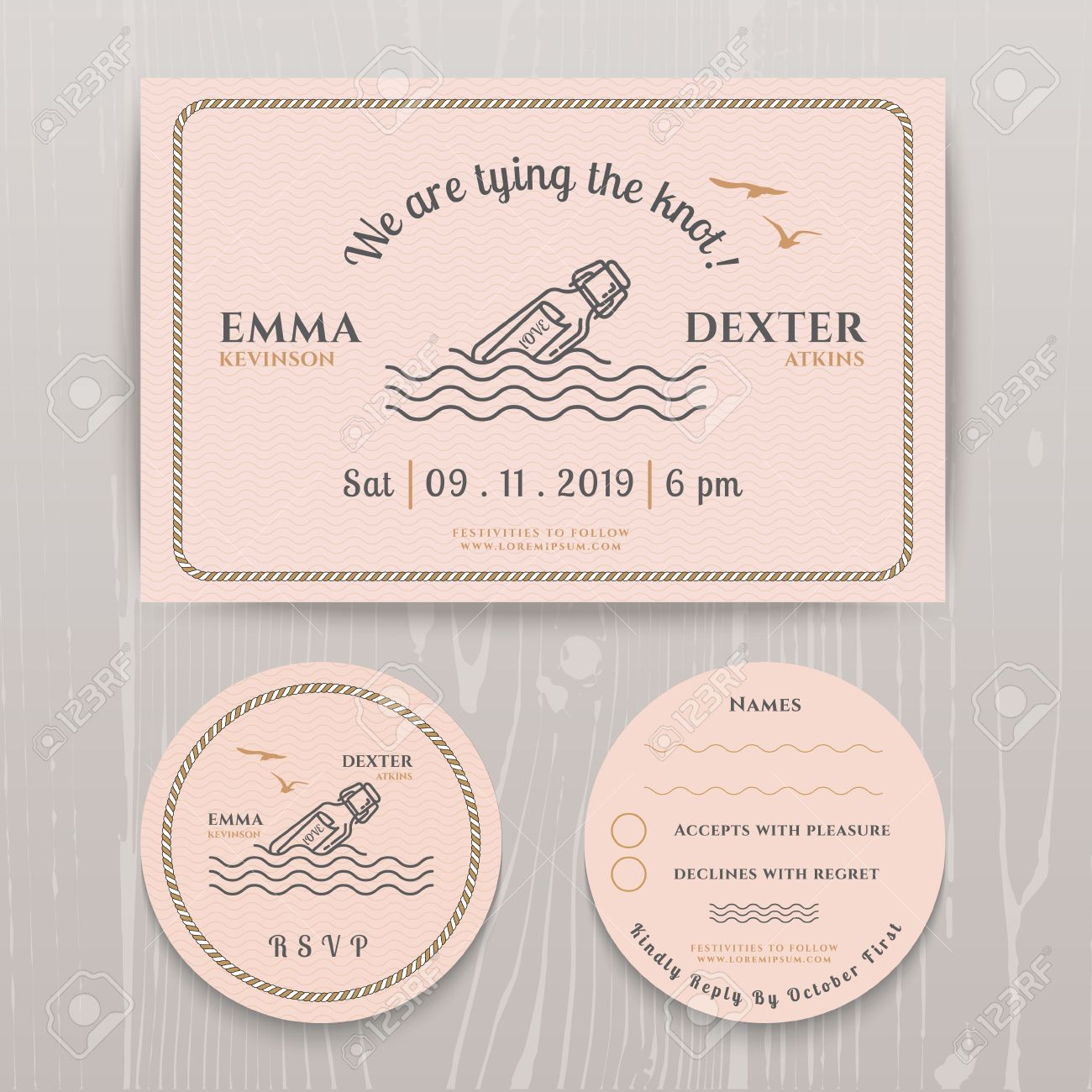 nautical message in the bottle wedding invitation and rsvp card