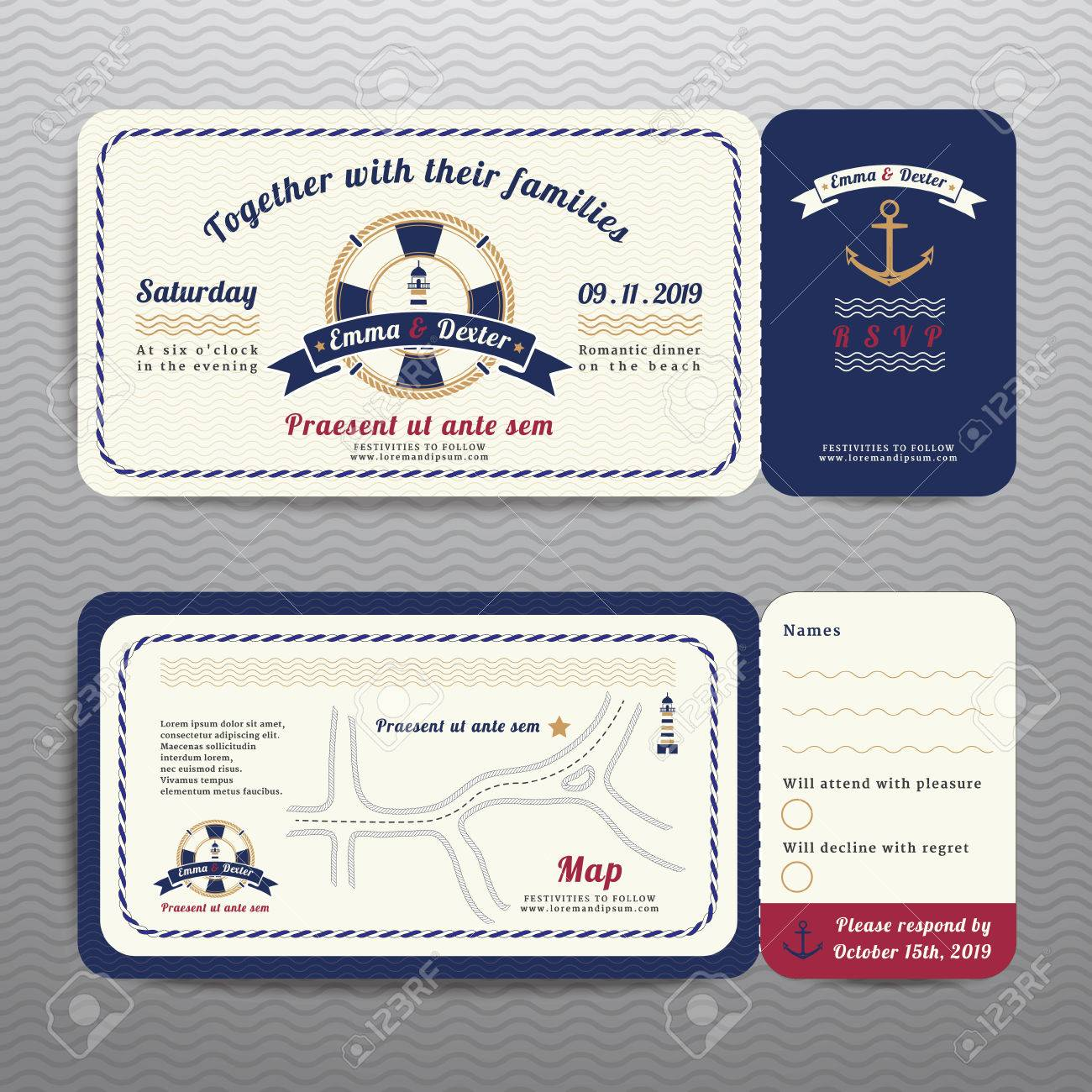 Nautical Ticket Wedding Invitation And RSVP Card With Anchor ...