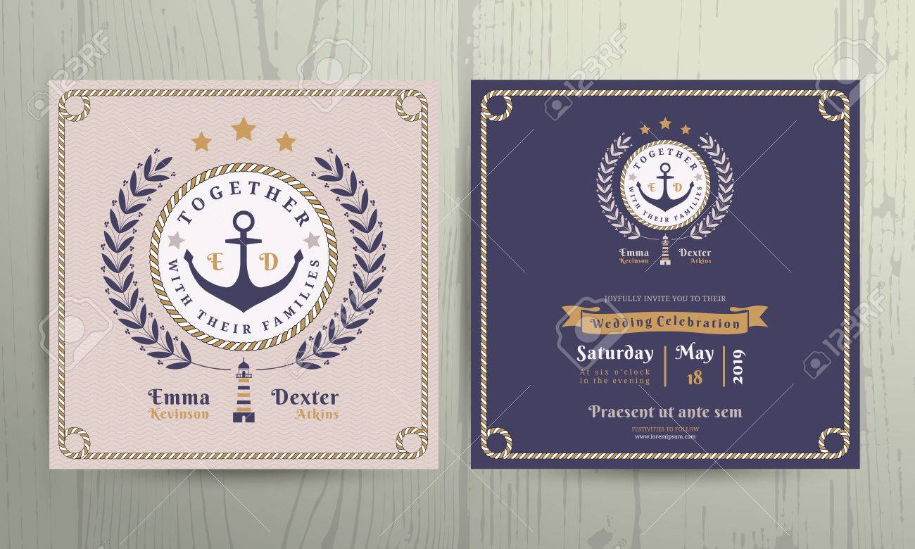 Vintage Nautical Wreath And Rope Frame Wedding Invitation Card – Vintage Nautical Wedding Invitations