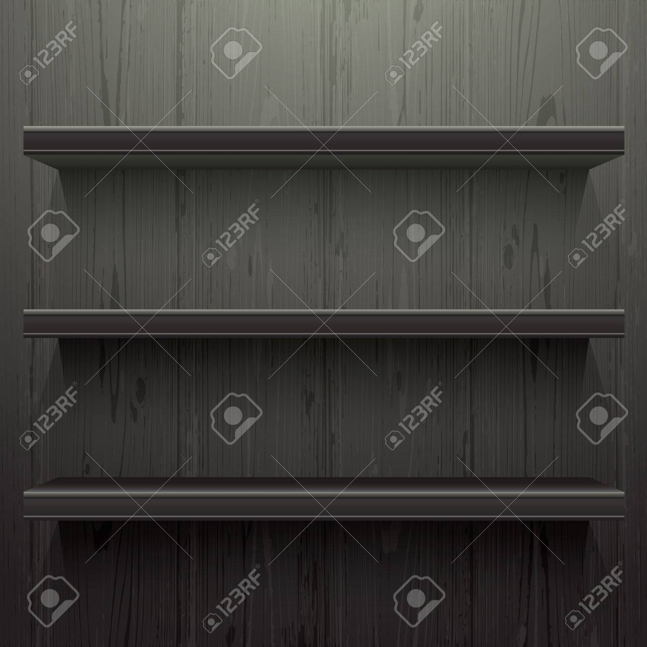 Merveilleux Dark Wood Background Shelves With Light From The Top Stock Vector   44118212