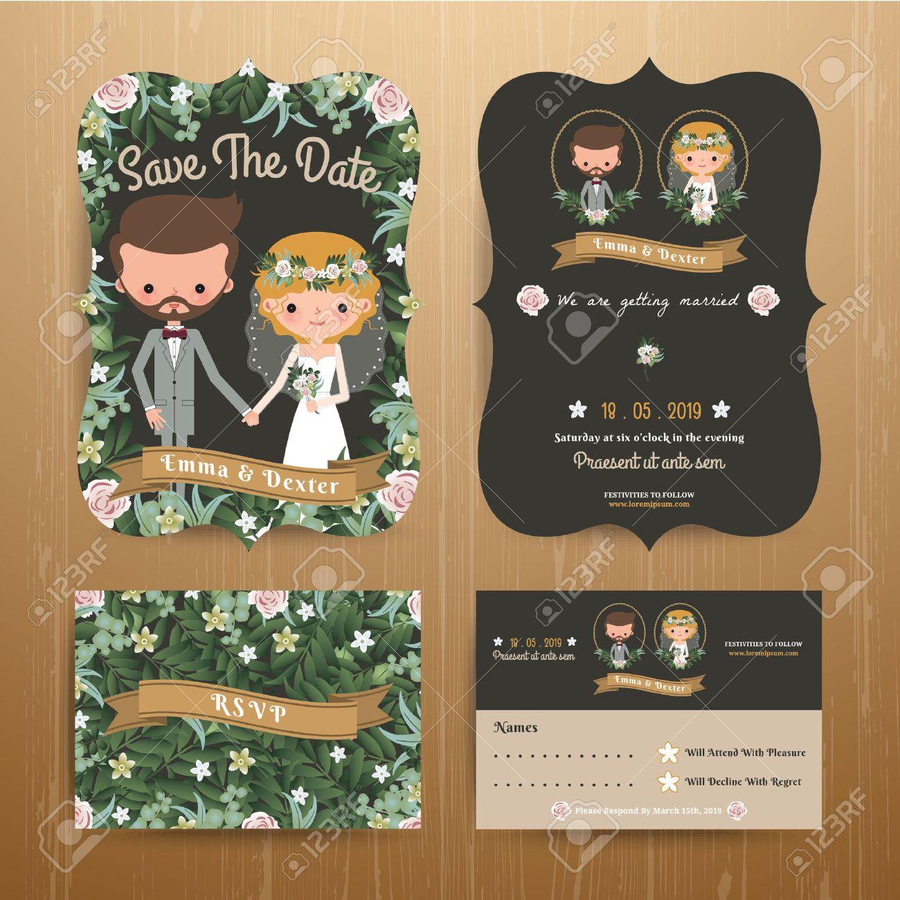 Rustic bohemian cartoon couple wedding card template set on wood background Stock Vector - 44118418