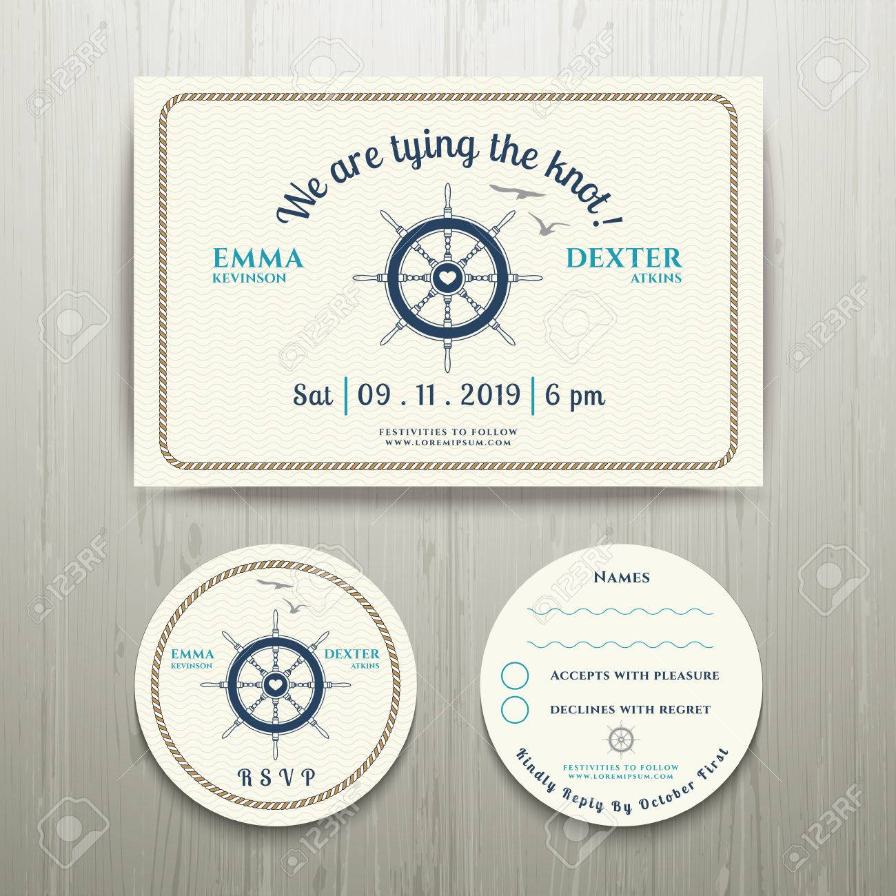 Nautical We Are Tying The Knot Wedding Invitation And RSVP Card Template  Set On Wood Background