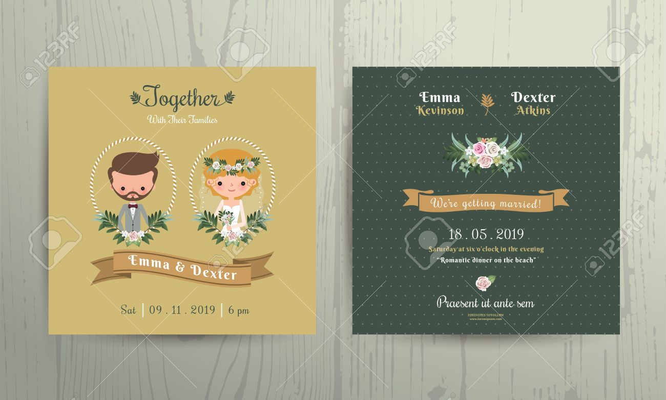 Wedding Invitation Card Cartoon Bride And Groom Portrait On Wood ...