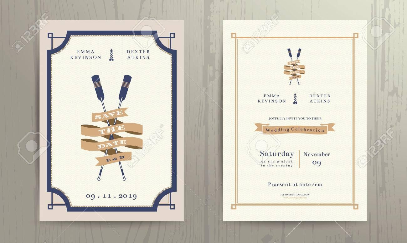 Vintage Nautical Twin Paddles Ribbon Wedding Invitation Card ...