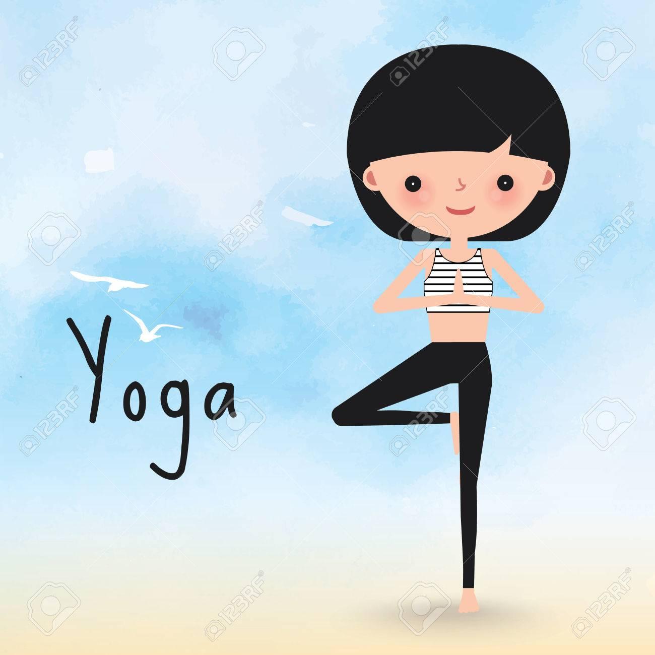 Yoga Woman Surya Namaskar On The Beach Cartoon Royalty Free Cliparts Vectors And Stock Illustration Image 46420317