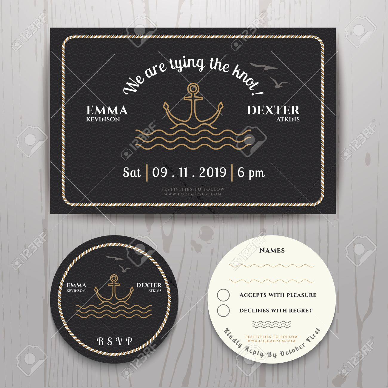 Nautical Sea Anchor Wedding Invitation And RSVP Card Template