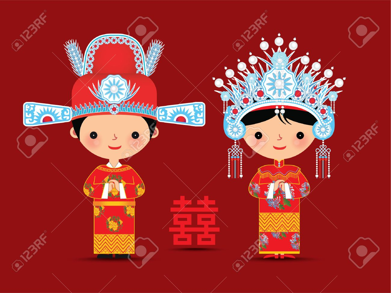 Chinese bride and groom cartoon wedding with double happiness symbol - 50268830