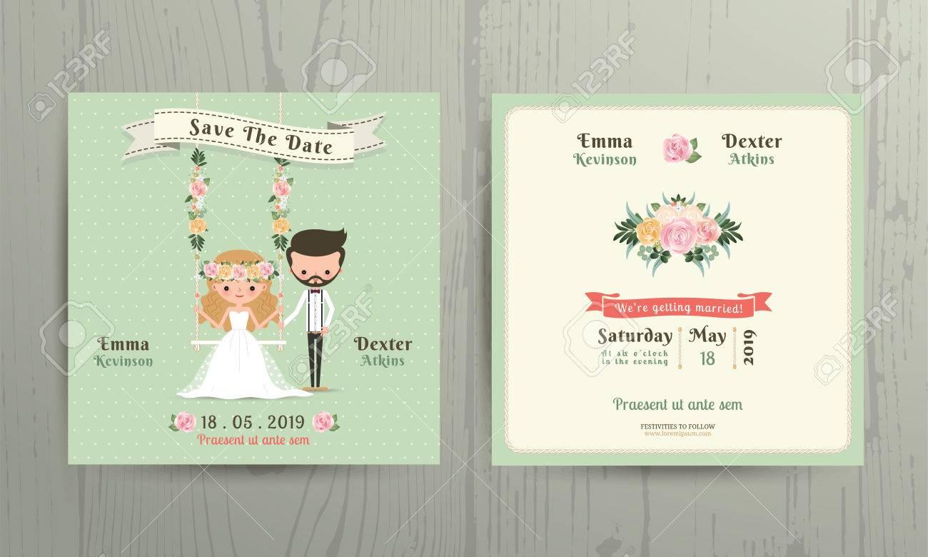 Rustikale Hochzeit Cartoon Braut Und Bräutigam Paar Einladungskarte Auf  Holz Hintergrund Lizenzfreie Bilder   50351612