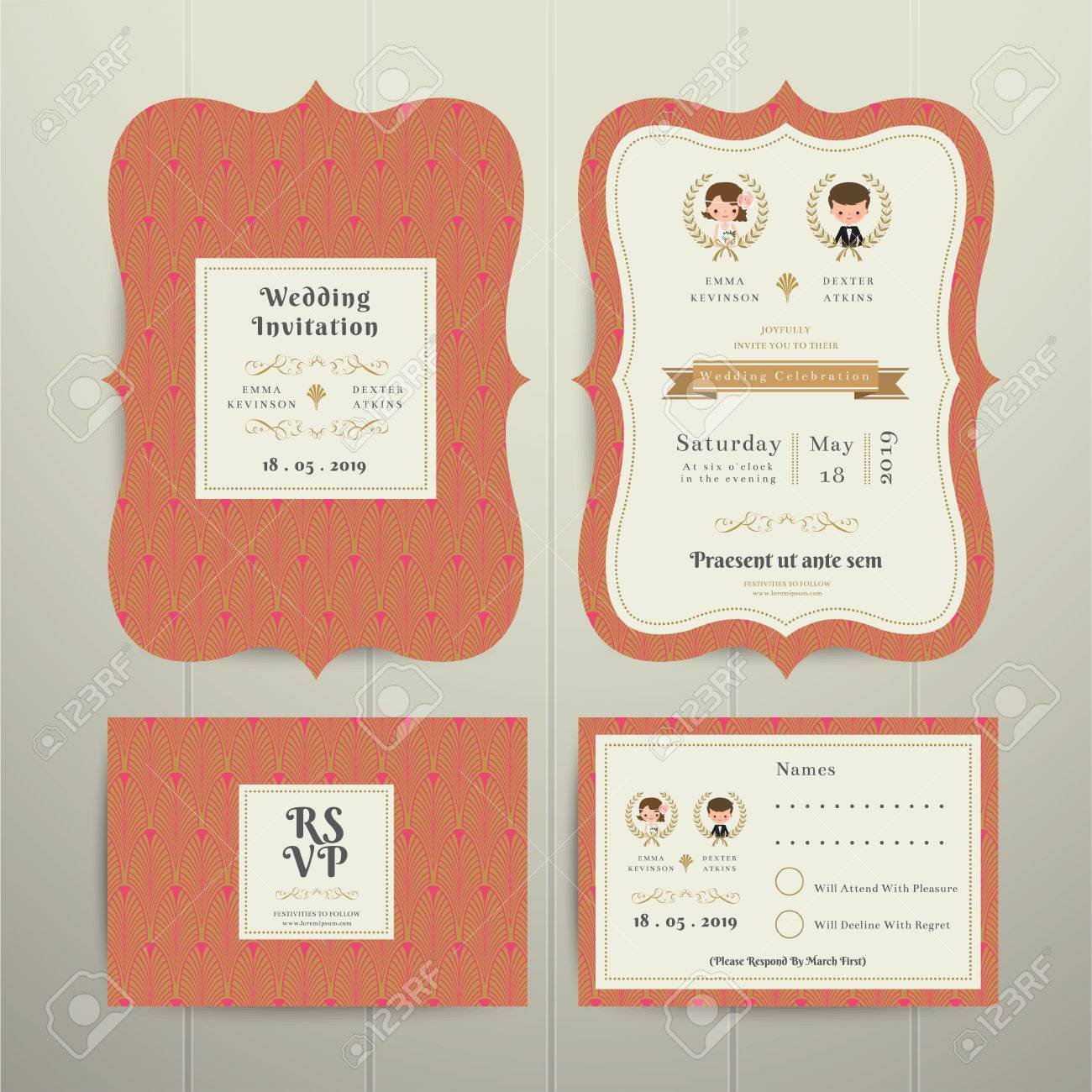 Art Deco Cartoon Couple Wedding Invitation Card RSVP Set Gold ...