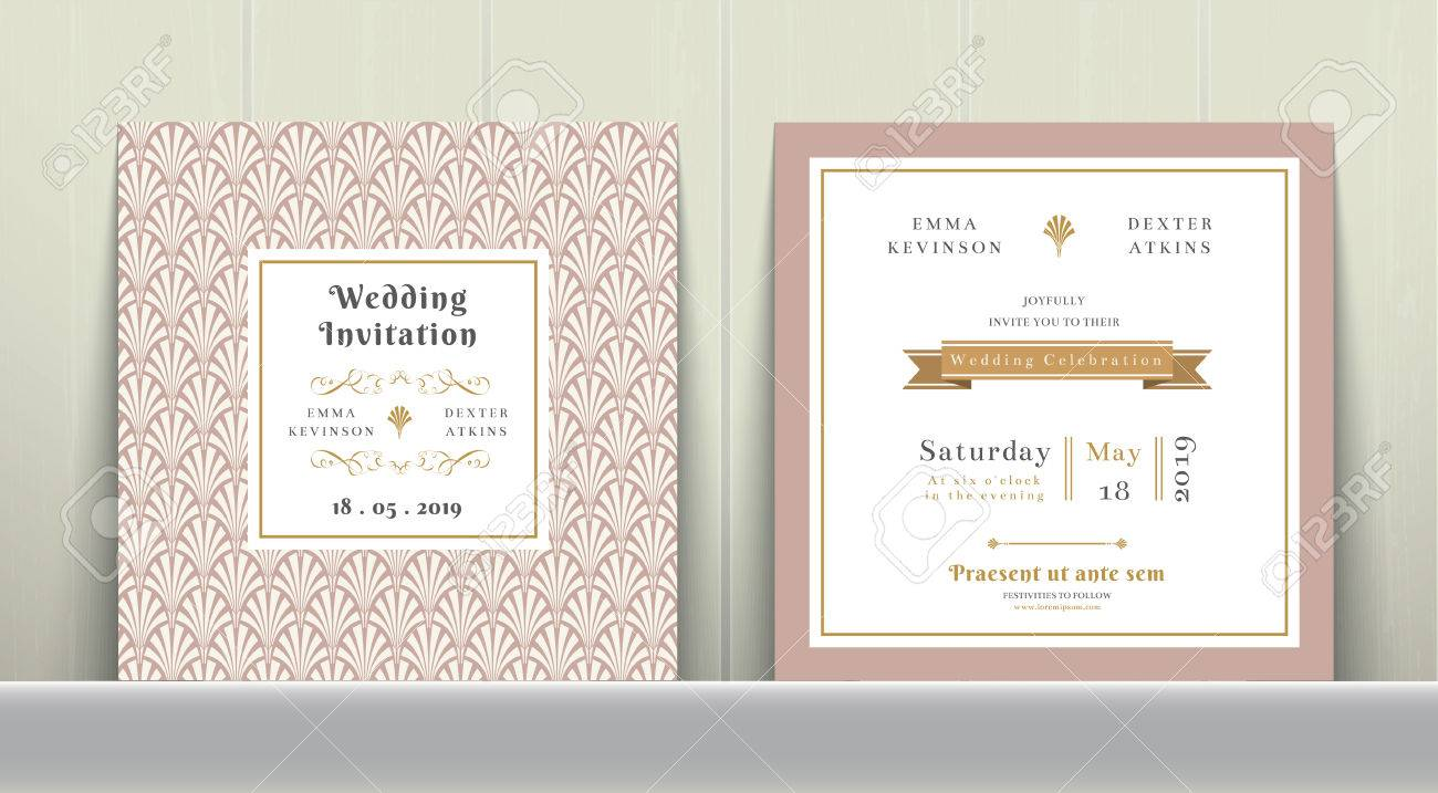 Art Deco Wedding Invitation Card In Gold And Pink On Wood Background ...
