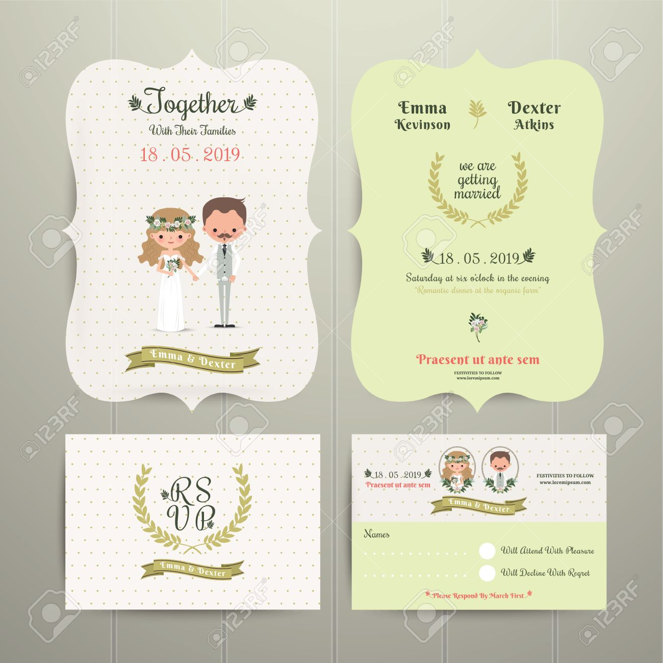 Bride Groom Cartoon Ferme Romantique Wedding Invitation Card Et