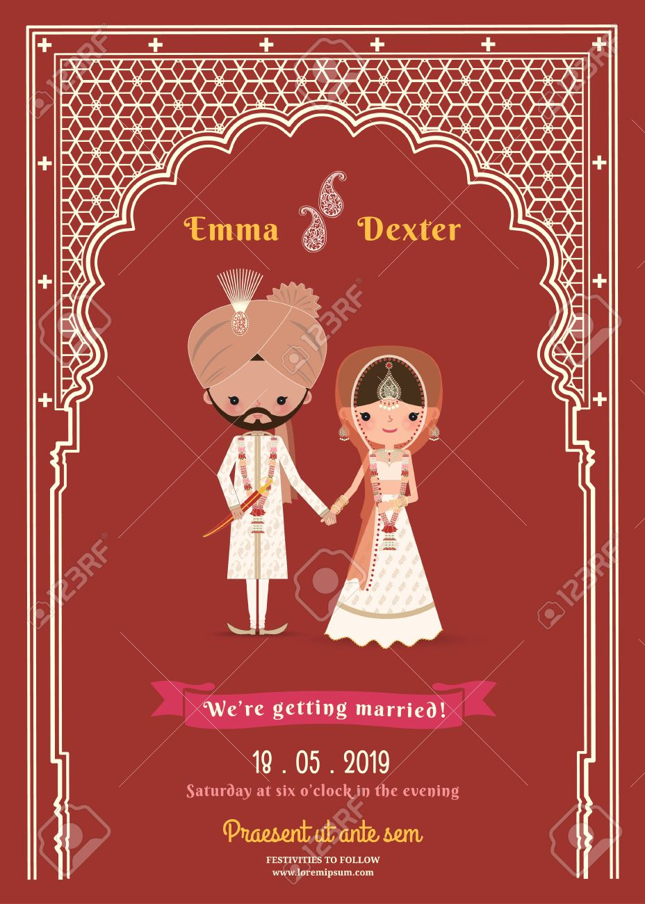 Indian Wedding Bride & Groom Cartoon Save The Date Card On Deep ...