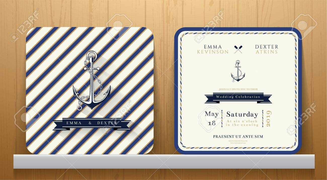 Vintage Nautical Anchors Wedding Invitation Card With Blue Striped ...