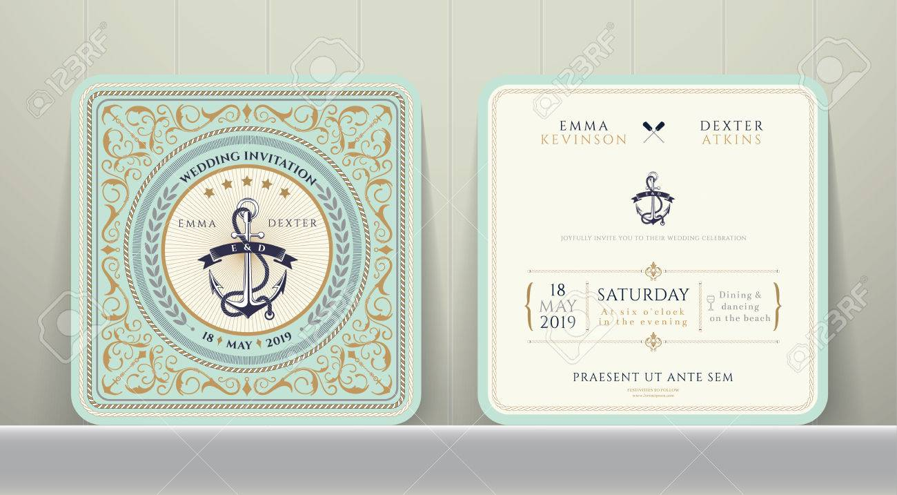 Vintage Nautical Anchors Wedding Invitation Card In Classic Style ...