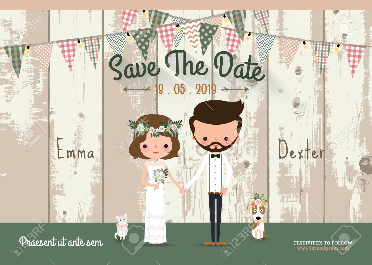 Couple rustic wedding invitation card and save the date with wood background - 62138711
