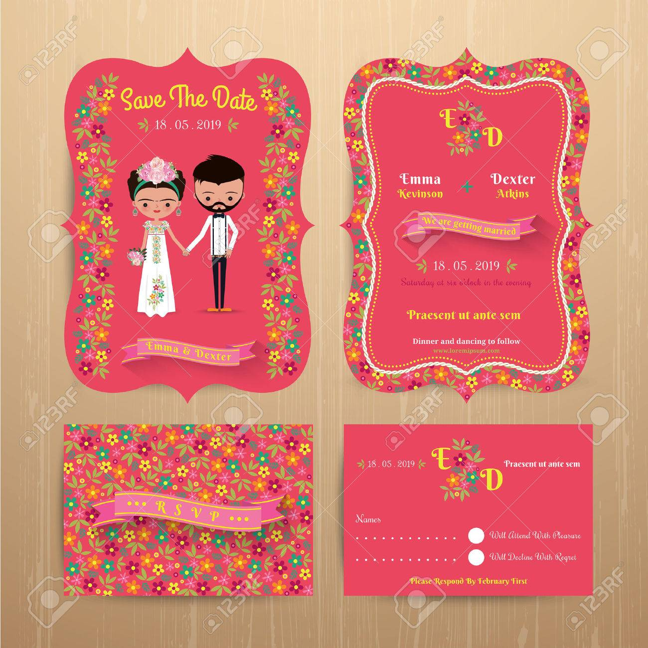 Bride And Groom Rustic Floral Wedding Invitation Card With Save ...