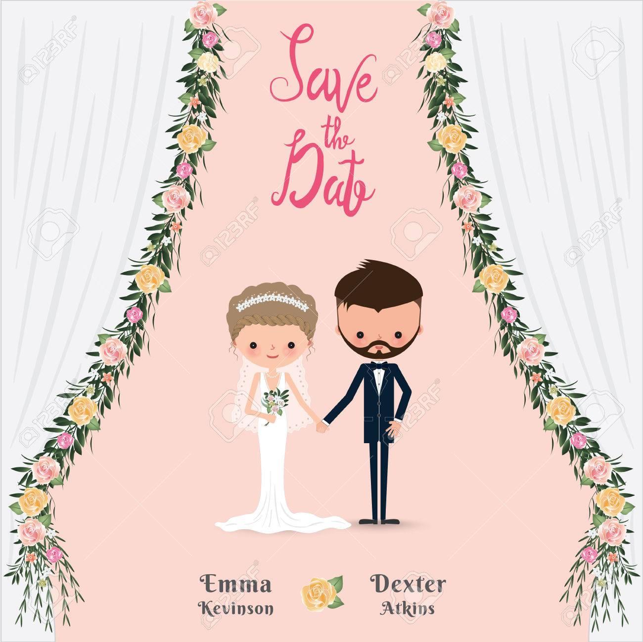 cartoon wedding couple save the date invitation card flower