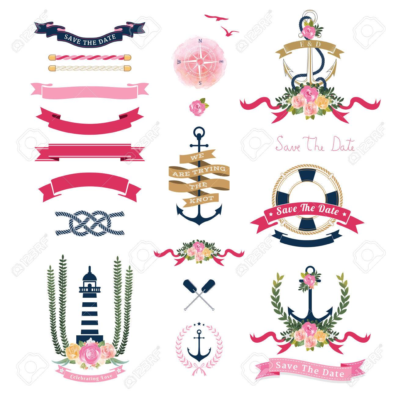 Nautical Wedding Theme With Floral And Anchor Ornaments On White Background Stock Vector