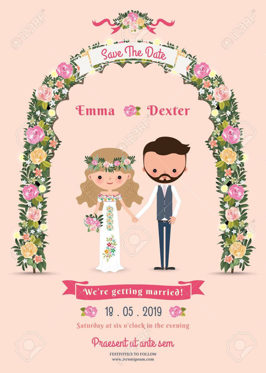 Rustic Blossom Flowers Cartoon Couple Wedding Invitation Card On Pink Background Stock Vector
