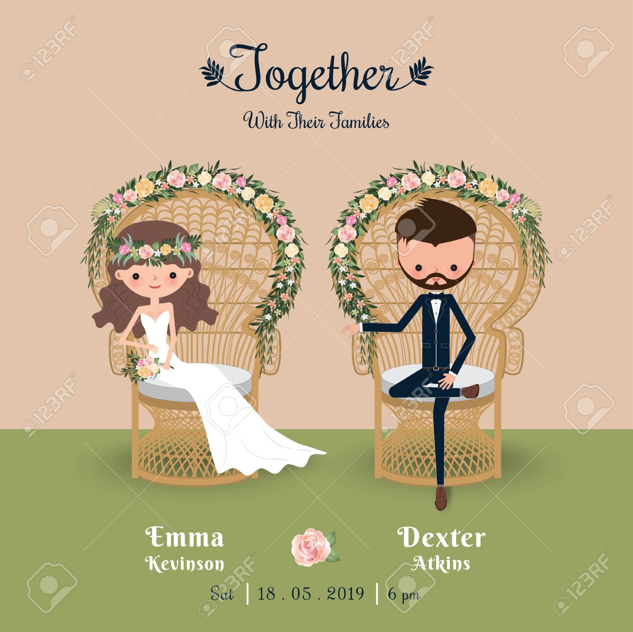 rustic bohemian cartoon couple wedding invitation card sitting
