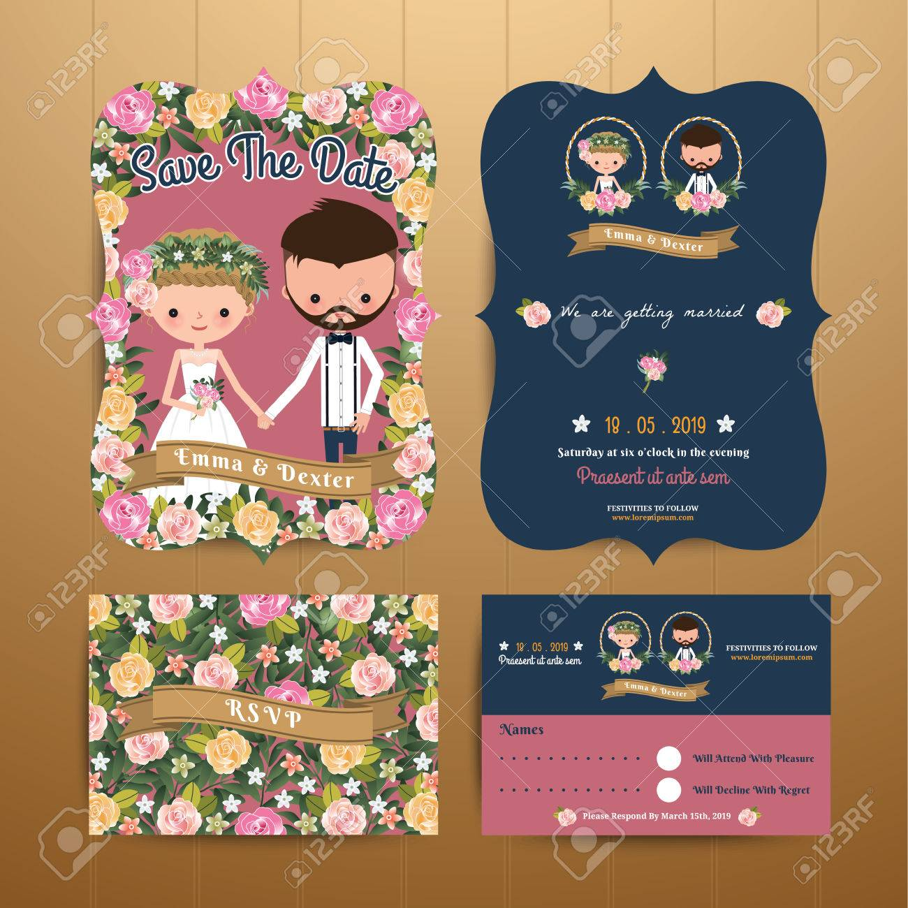 Vintage Rustic Blossom Flowers Cartoon Couple Wedding Invitation