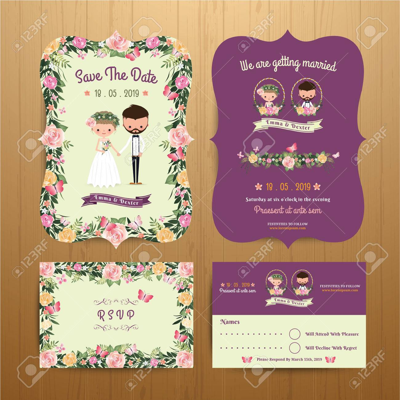 Rustic blossom flowers cartoon couple wedding invitation card rustic blossom flowers cartoon couple wedding invitation card rsvp set on wood background stock vector stopboris Image collections