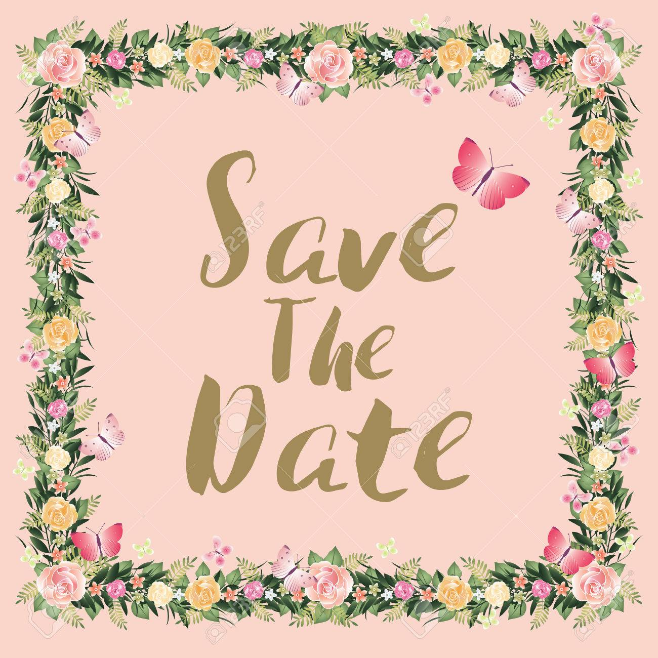 Rustic Blossom Flowers Save The Date Wedding Invitation Card
