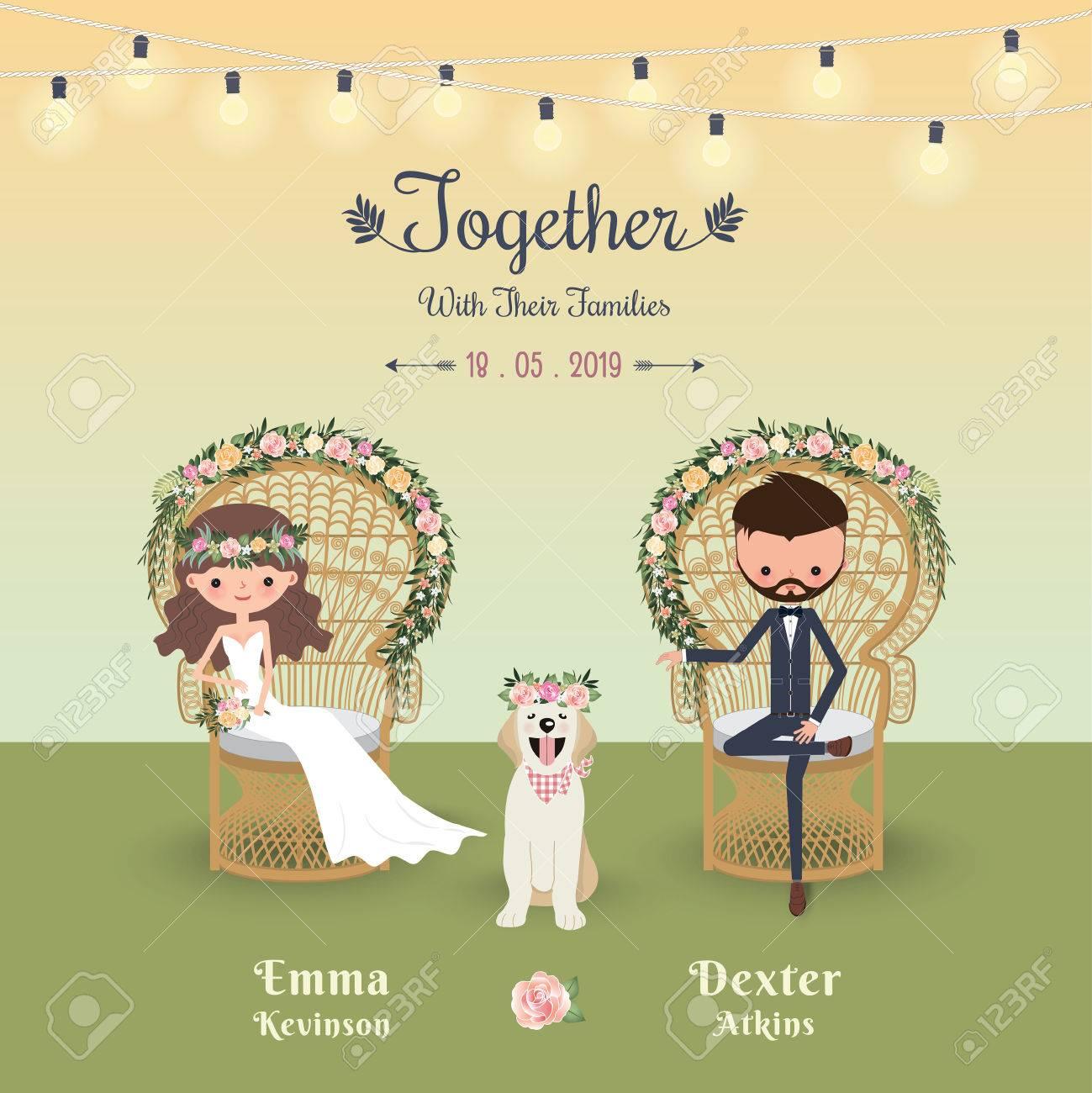 Carte De Visite Mariage Rustique Bohme Avec Un Chien