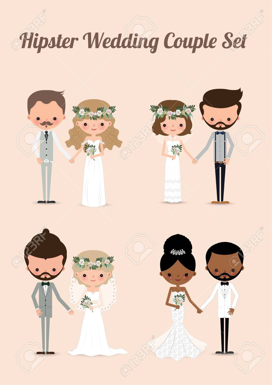Hipster Wedding Couple Set Cartoon Illustration Of Bride Royalty Free Cliparts Vectors And Stock Illustration Image 99341591
