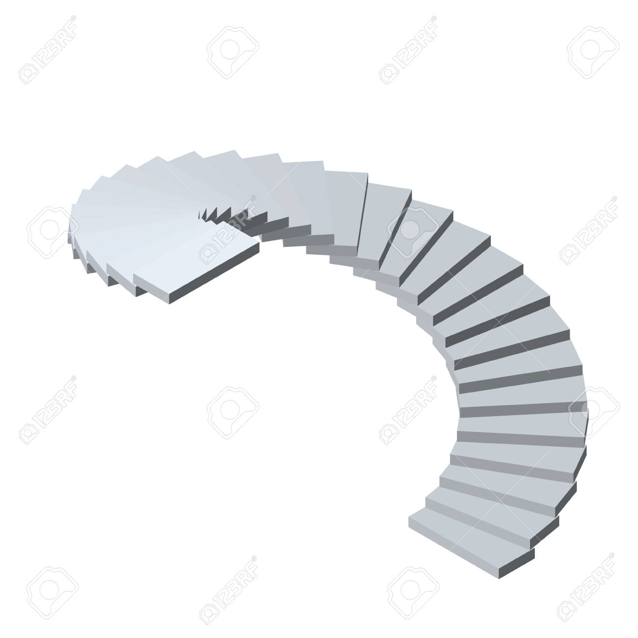 Spiral Staircase Isolated On White Background 3d Vector