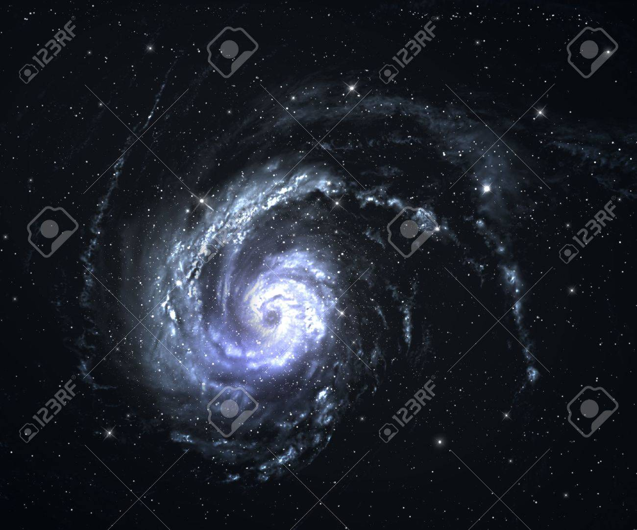 Beautiful spiral galaxy in deep space with starfield background. Stock Photo - 18465070