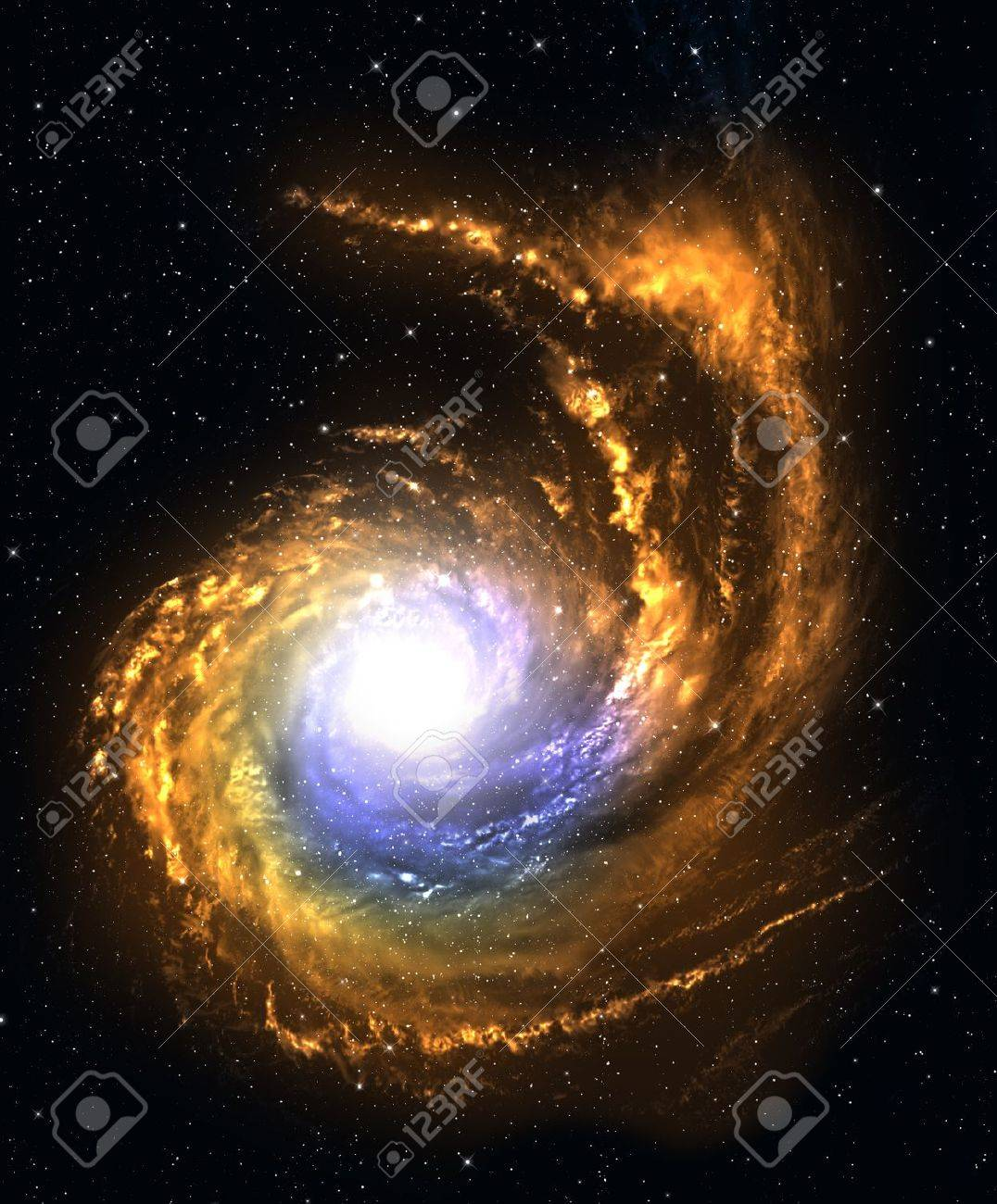 Spiral galaxy in deep space with starfield background. - 18511875