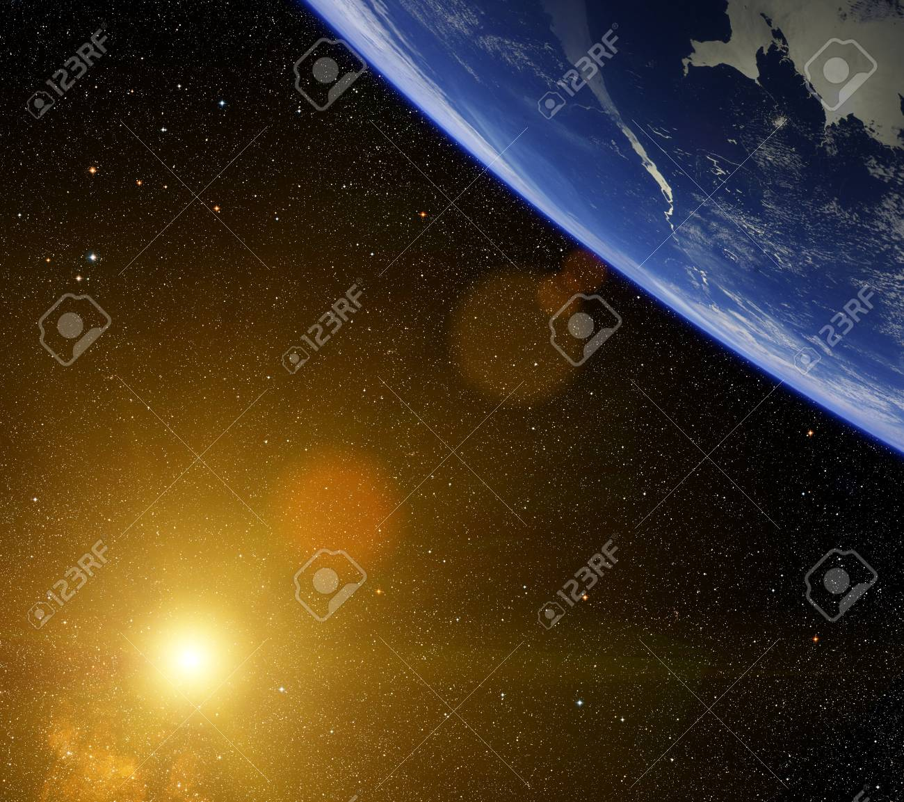 Planet with bright star and lens flare Stock Photo - 20068463