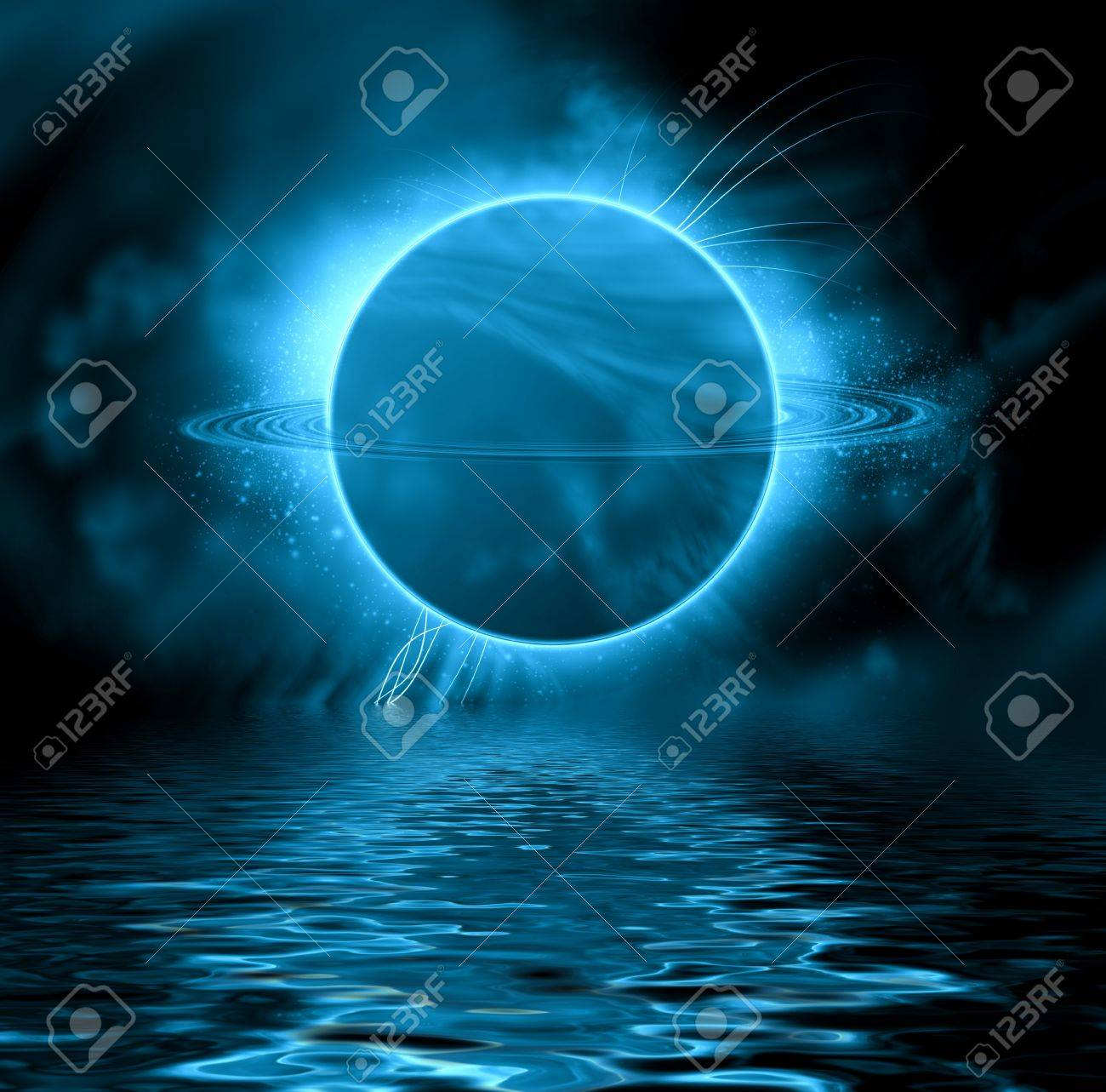 Fantasy planet reflected in water surface  Space background Stock Photo - 20384079