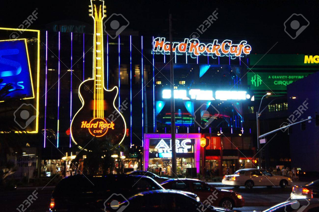 Las Vegas, Nevada - September 2 2011: Night View of Hard Rock Cafe and Ross in Las Vegas, Nevada Stock Photo - 10986628