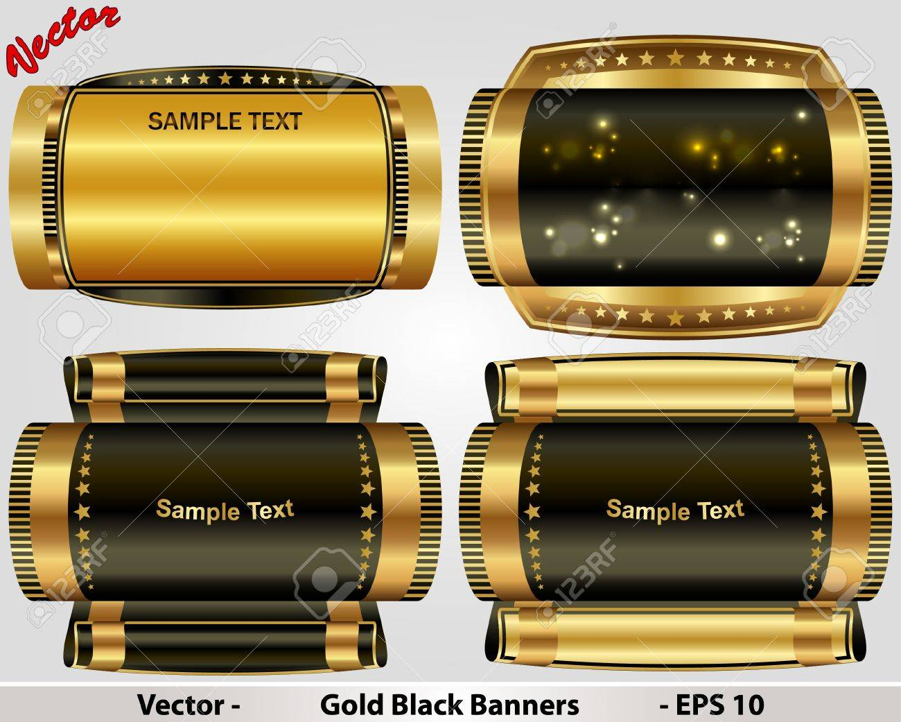 Gold Black Banners Stock Vector - 15499930