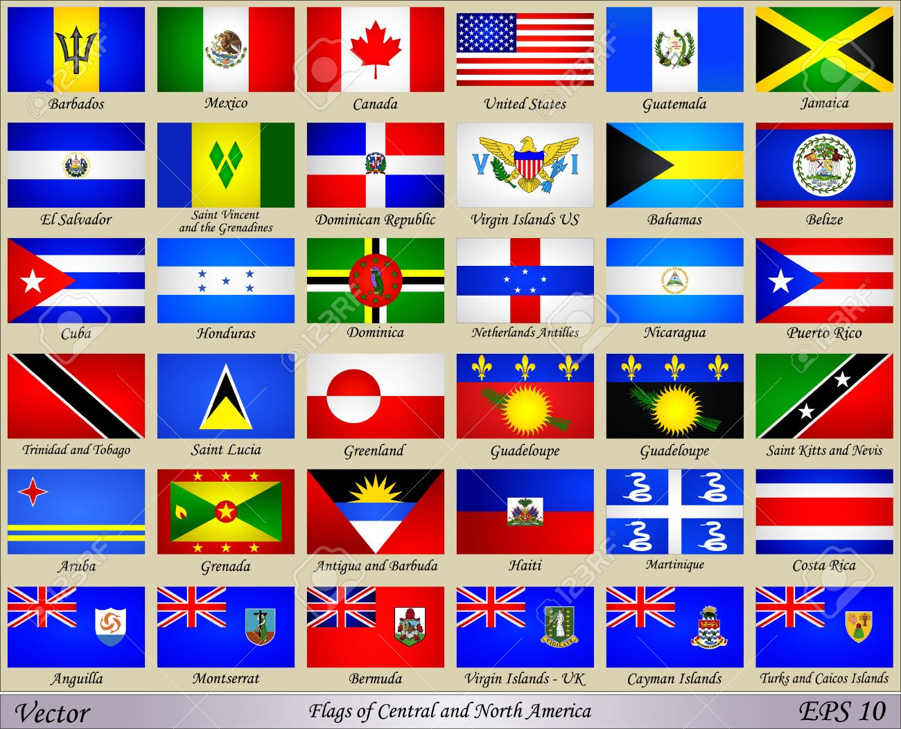Central American Country Flags