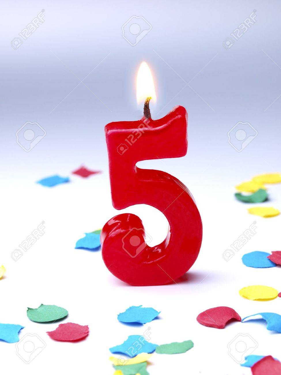 Birthday Candle Showing 5 Stock Photo